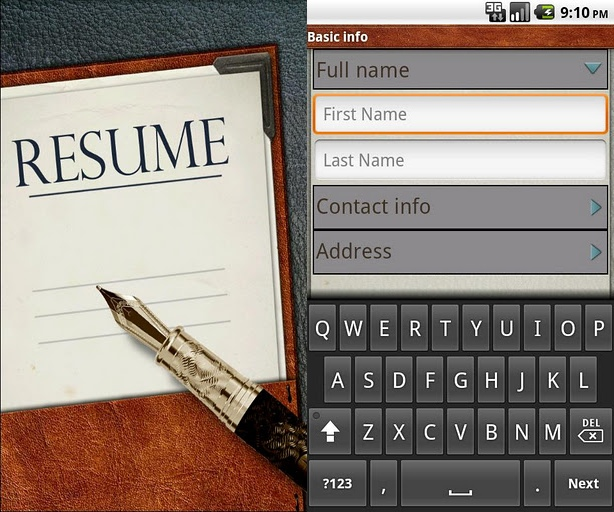 Resume App for iPhone and Android