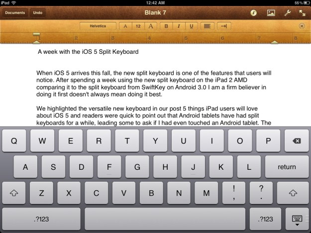 iPad keyboard docked