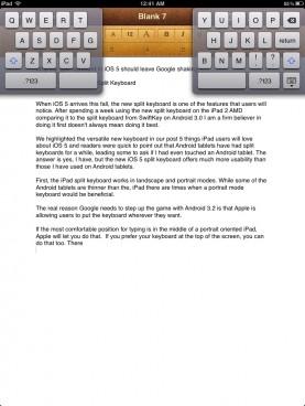 iPad split keyboard in portrait