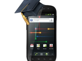a Nexus S with a university cap on