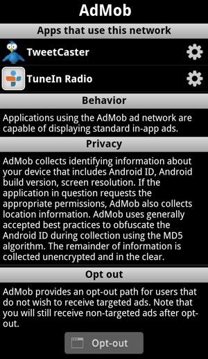 Ad Network Detector Ad Info Screen