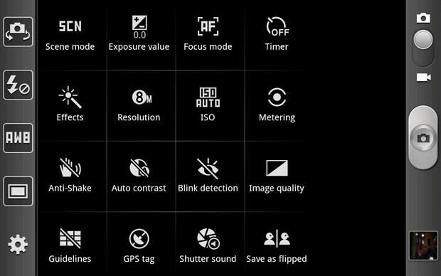 Galaxy Note Camera App - Shortcuts