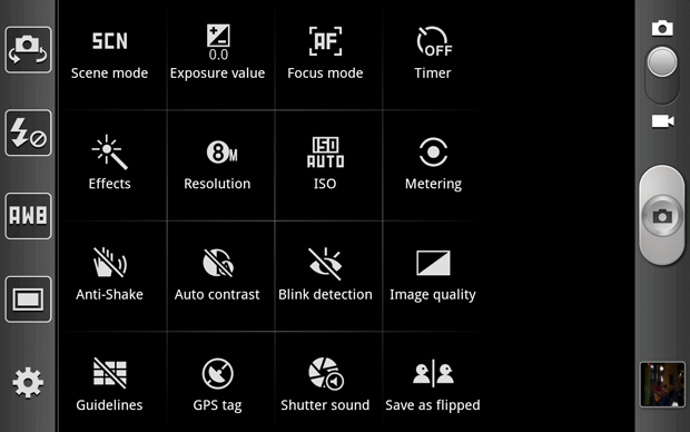 Galaxy Note Camera App - Shortcuts