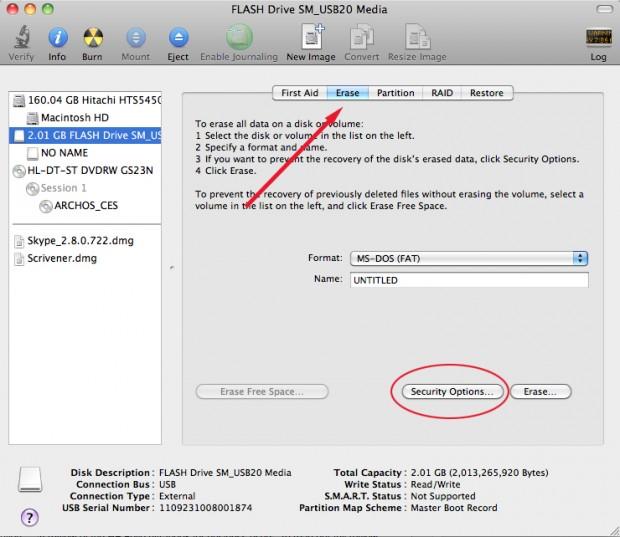 Mac OS X Disk Utility Erase Screen
