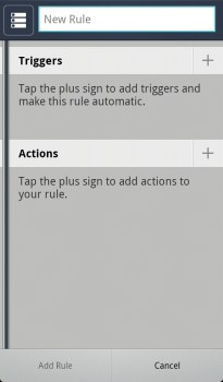 Smart Actions New Rule Screen