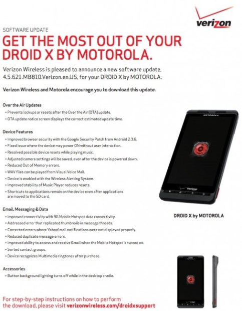 Motorola Droid X Gets Massive Bug Fix Update