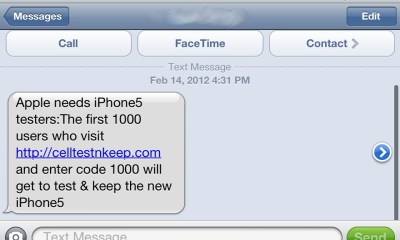 iPhone 5 Testers Text message