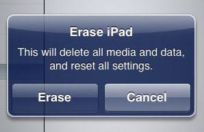 Erase iPad Confirmation