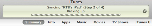 iTunes Backing Up