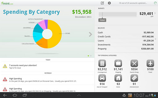 mint personal finance for tablets