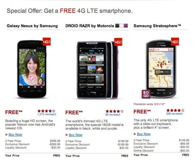 "Verizon Offering Galaxy Nexus for Free to ""Loyal"" Customers"