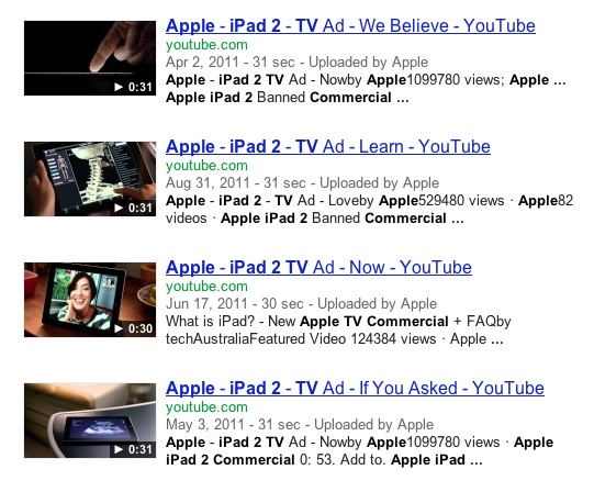 Apple iPad 2 TV ad listing
