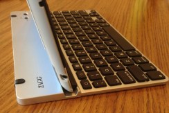 ZAGGfolio Keyboard outside the case from the side showing channel to hold iPad