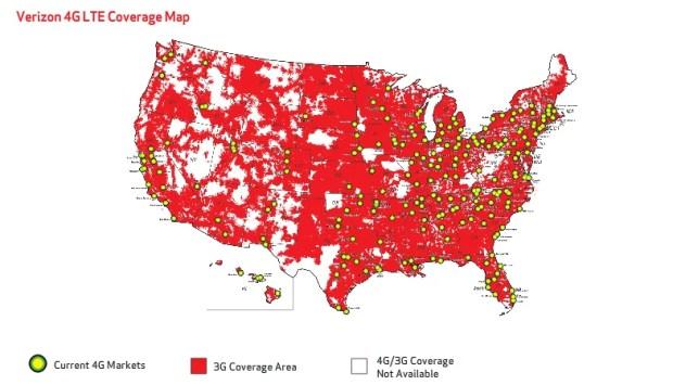Verizon Wireless 4G LTE Coverage Map