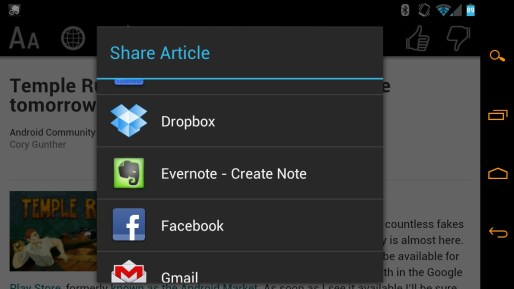 Zite for Android Share