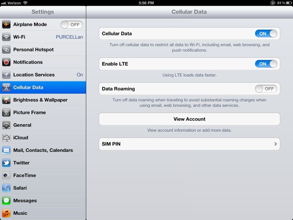 Cellular Data in Settings