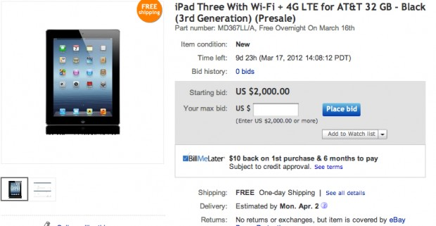 new iPad on eBay