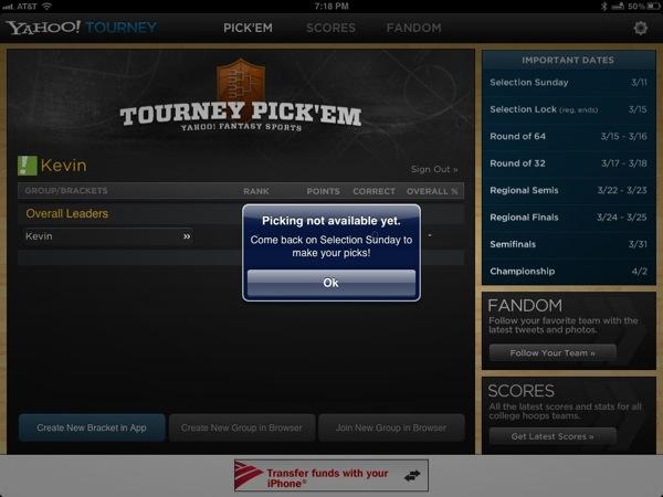 Yahoo Tourney pick em app