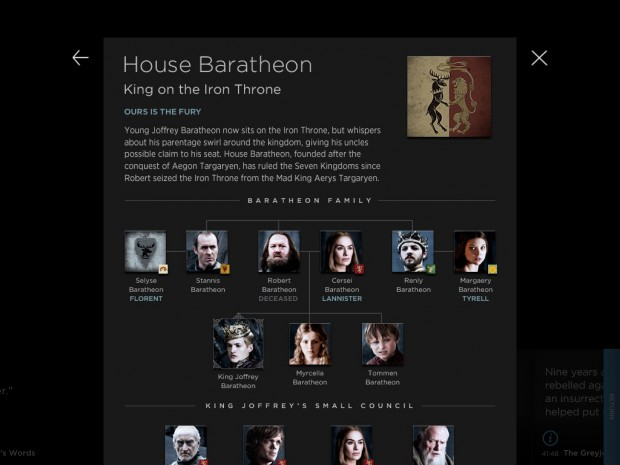 A family tree for Game of Thrones characters is one extra on the iPad
