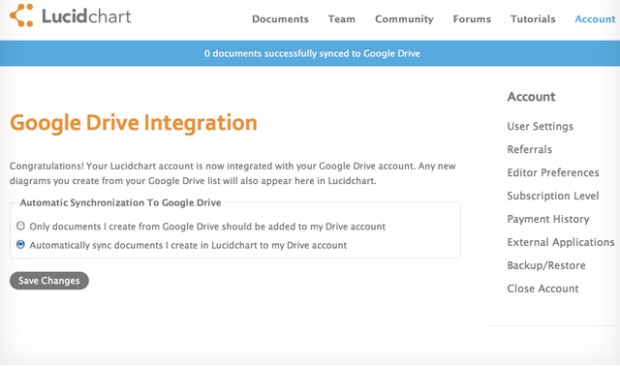 Google Drive Lucidchart Integration