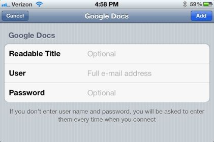 Google Drive iPhone App - sign in