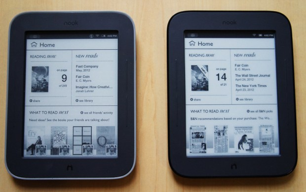Nook GlowLight and Simple Touch - Main Screen