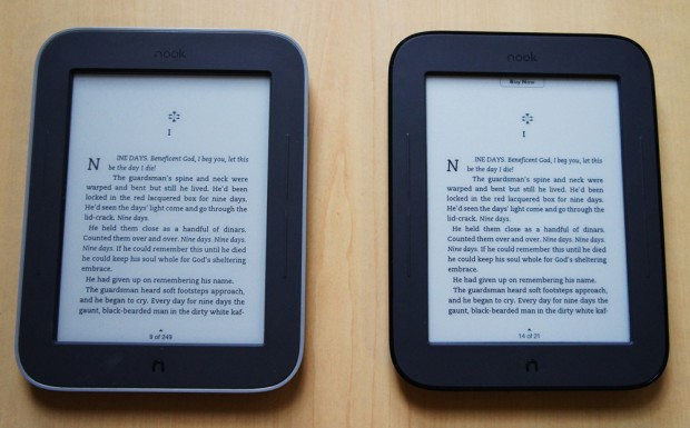 Nook GlowLight and Simple Touch - inside a book