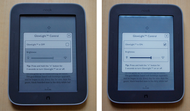 Nook Simple Touch with GlowLight - Glow Controls