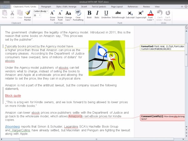 Office for iPAD track changes