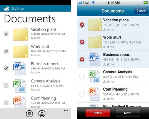 SkyDrive Mobile Apps