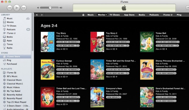 iTunes Movies for Kids 2-4