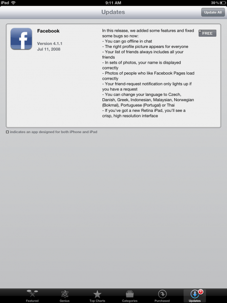 Facebok for iPad Gets Act Together with Retina Update