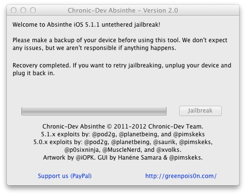 Absinthe 2.0 Recovery completed. If you want to retry jailbreaking, unplug your device and plug it back in