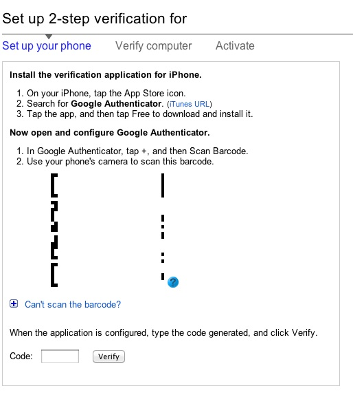 Google Authenticator app for iPhone