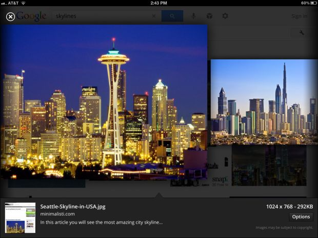 full screen image search