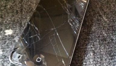 broken iphone 4 cracked