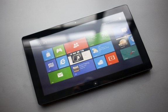 A tablet running Windows 8