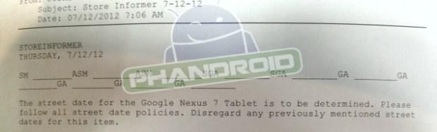 Nexus 7 release date at Gamestop