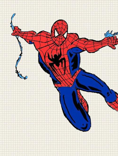 spider man drawn on the galaxy note