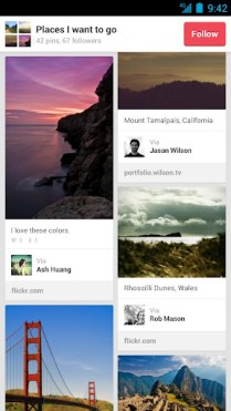 Pinterest Android App Screen - Pins