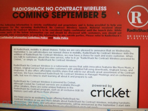 RadioShack No Contract Wireless leak