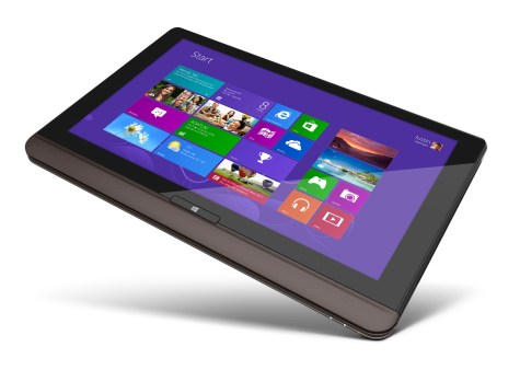 The Toshiba Satellite U925t in tablet mode.