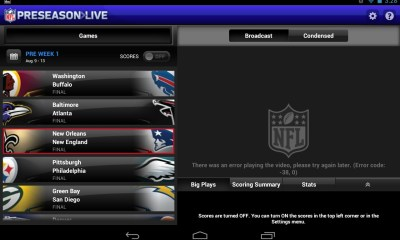 The NFL Preseason Live Android tablet error -38