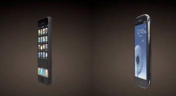 iPhone 5 vs Galaxy S III 3D render angle