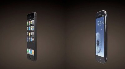 iPhone 5 vs Galaxy S III 3D render angle