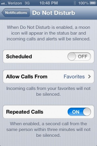 Do Not Disturb iOS 6