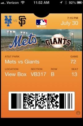 Giants Passbook Ticket