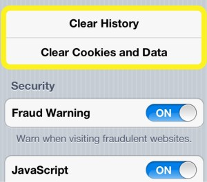 Clear History and Cookies