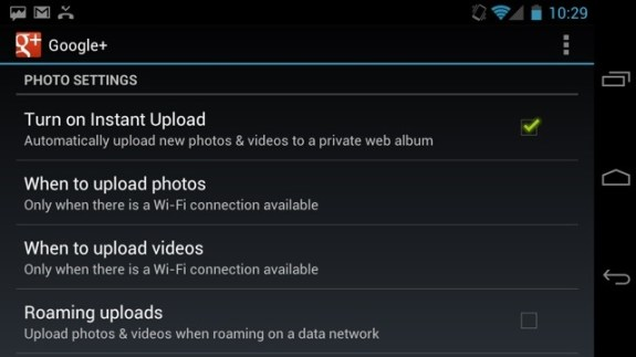 Turn on Instant Upload