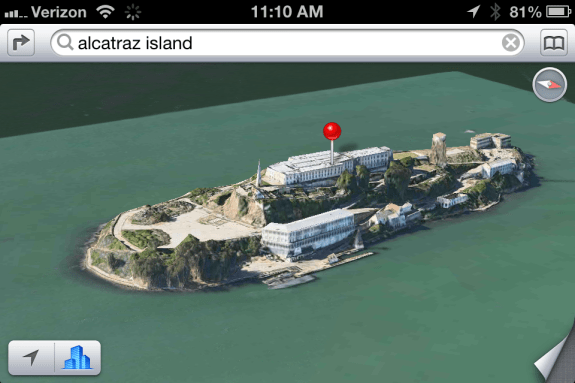 iOS 6 Flyover mode 3D